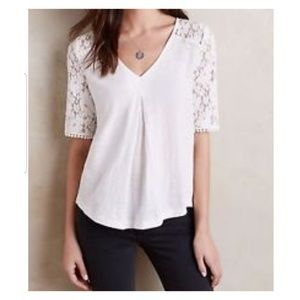 Meadow Rue Anthro White Lace Pleated Floral Top M